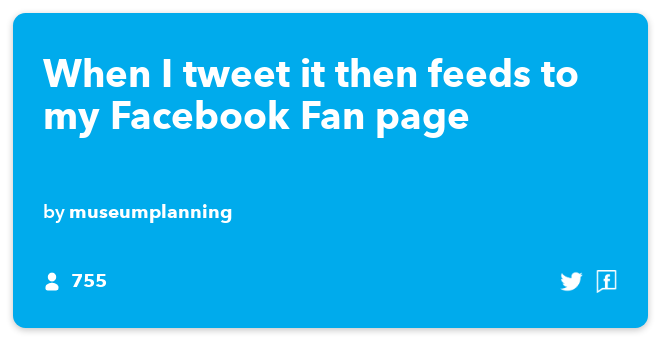 IFTTT Recipe: When I tweet it then feeds to my Facebook Fan page connects twitter to facebook-pages