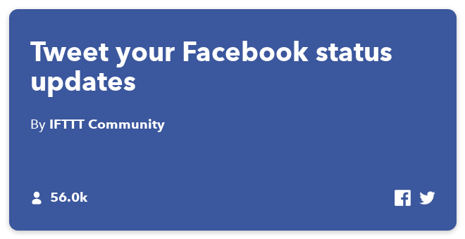 IFTTT Recipe: Automatically Tweet your Facebook status updates connects facebook to twitter
