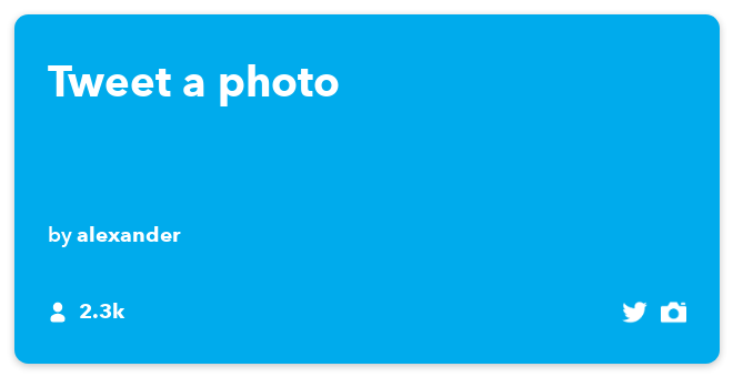 IFTTT Recipe: Tweet a photo connects do-camera to twitter