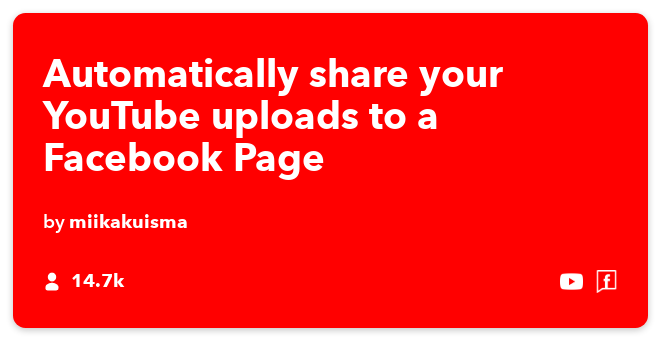 IFTTT Recipe: Post your YouTube uploads to a Facebook Page connects youtube to facebook-pages
