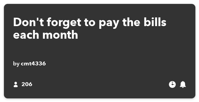 IFTTT Recipe: Don't forget to pay the bills each month connects date-time to sms