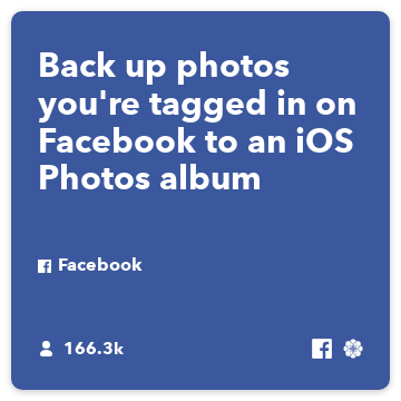 Back up photos you're tagged in on Facebook to an iOS Photos album